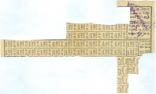 Карточка на хлеб декабрь 1947 Украина Картка на хліб УРСР грудень