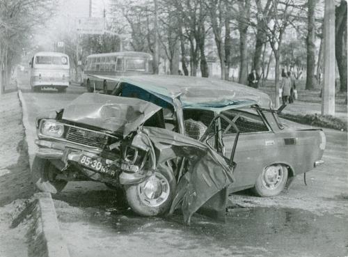 Киев Автомобиль Москвич Автобус ДТП Дорожно транспортное проишествие ГАИ 1970-е годы