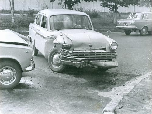 Киев Автомобиль Москвич Волга Жигули ДТП Дорожно транспортное проишествие ГАИ 1970-е годы