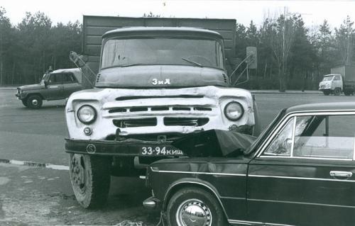 Киев Автомобиль Жигули ЗИЛ ДТП Дорожно транспортное проишествие ГАИ Милиция 1970-е годы