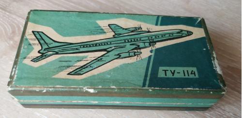 Коробка Самолёт Ту-114 1962 год Авиация Винтаж Реклама СССР