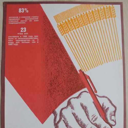Плакат СССР Хозрасчет Агитация Пропаганда
