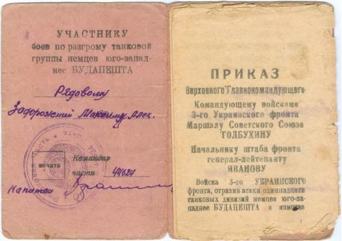 Приказ  Верховного Главнокомандующего Маршала СССР Сталина 1945 год Участнику боев под Будапештом