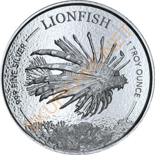 Серебряная монета 1oz Рыба-Лев 1 доллар 2019 Барбадос