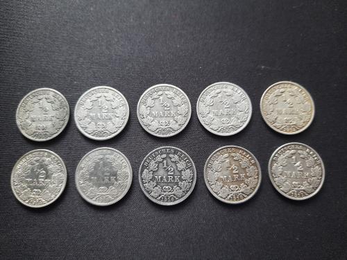 Германия 1/2 марка 1905,1906,1907,1909,1913,1914,1915,1916,1917,1918 погодовка