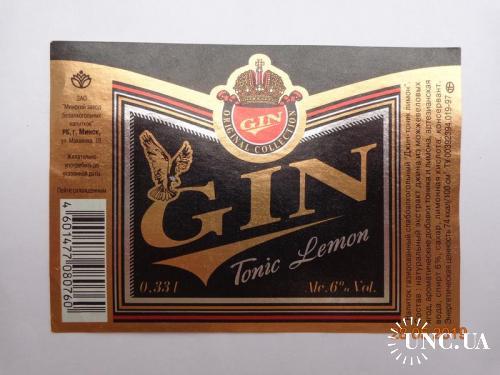 """Этикетка """"Gin Tonic Lemon"""" (ЗАО """"Минский завод безалкогольных напитков"""", Республика Беларусь)"""