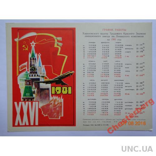 График работы Харьковского авиазавода на 1981 год