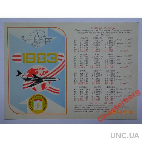 График работы Харьковского авиазавода на 1983 год