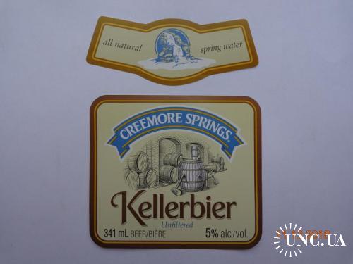 """Пивная этикетка """"Creemore Springs Kellerbier"""" (Creemore Springs Brewery Limited, Ontario, Канада)"""