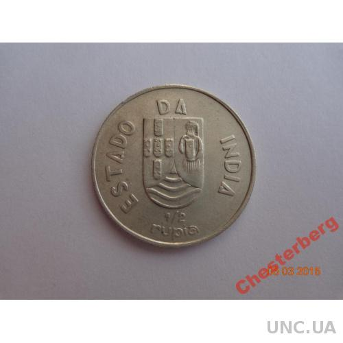 Португальская Индия 1/2 рупии 1936 серебро СУПЕР состояние очень редкая