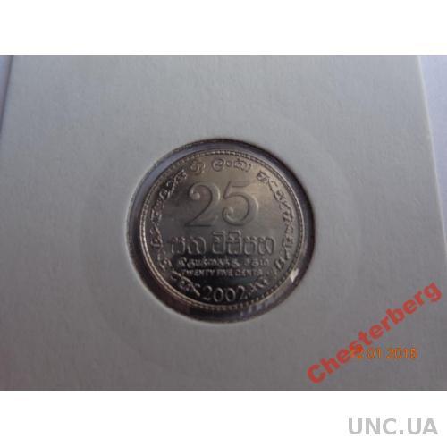 Шри Ланка 25 центов 2002 сталь состояние