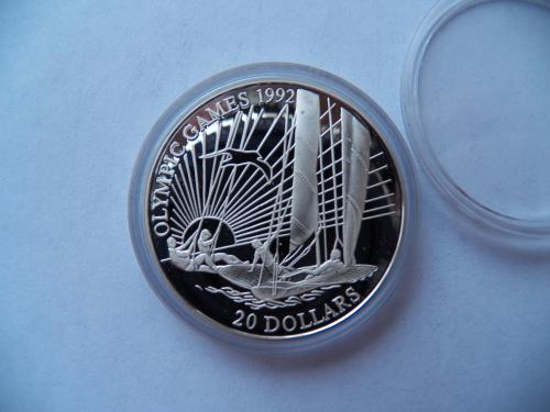 """20 доларів Кірібаті """"Олімпійські ігри 1992 року"""",срібло ПРУФ."""