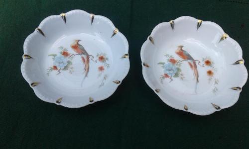 Две тарелочки для орешков Steinmann Германия до 1900 г. +автор. вазочка.