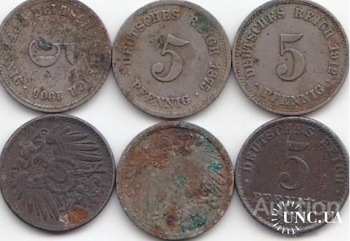 5 пфенниг  рейх 1875  1919 1921 1905 1907  1912 - нечищеные - №№1 =