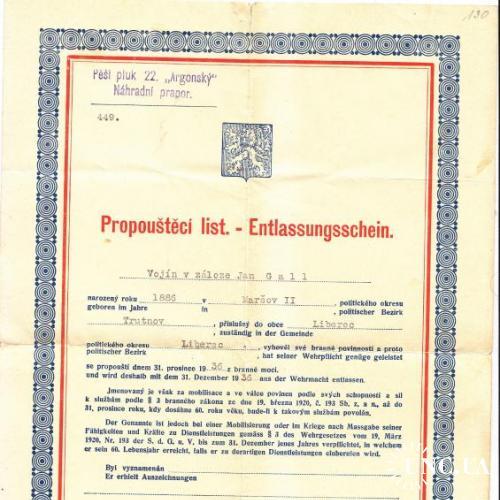 Propouštěcí list - чехословакия - 1936 -=