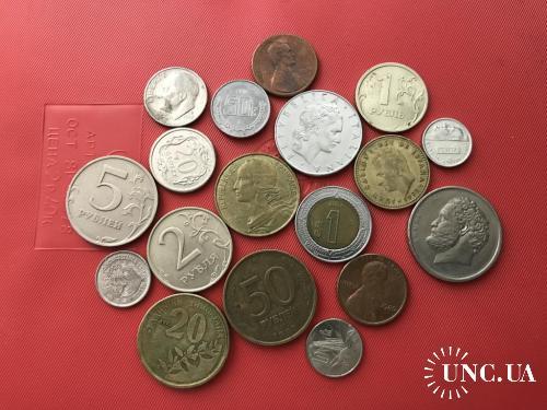 18 Монет мира Россия, Греция, Испания, Франция, Италия, США, Польша, Мексика, Португалия