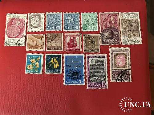70-е, Марки Финляндии, Индии, Испании, Австралии, Новой Зеландии, гашение