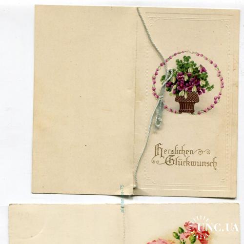 Две открытки. Поздравительные. Цветы. Открываются.