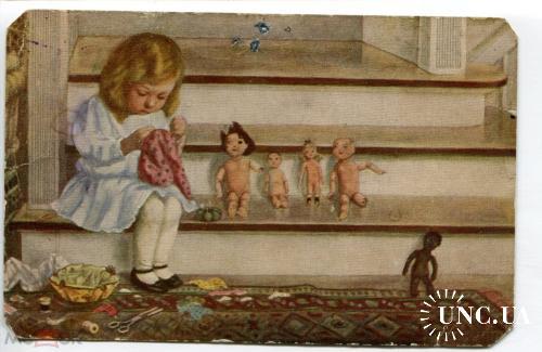 Серия дети. Девочка с куклами.
