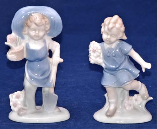 Две парные фарфоровые статуэтки Дети.