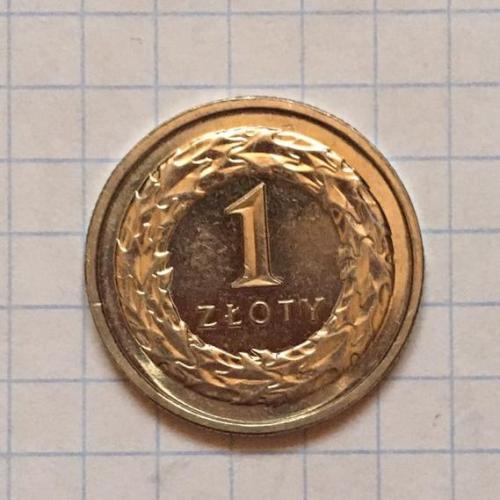 1 злотий Польща, 2014 р., мідно-нікелевий сплав