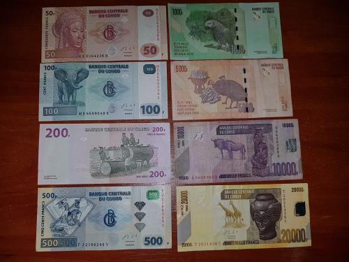 Франки Конго одним лотом 20000 10000 5000 1000 500 100 50