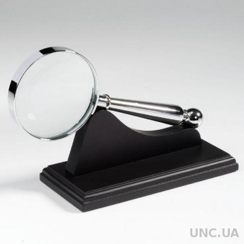Лупа 4х63, стекло, металлический корпус, хромированная, на черной подставке