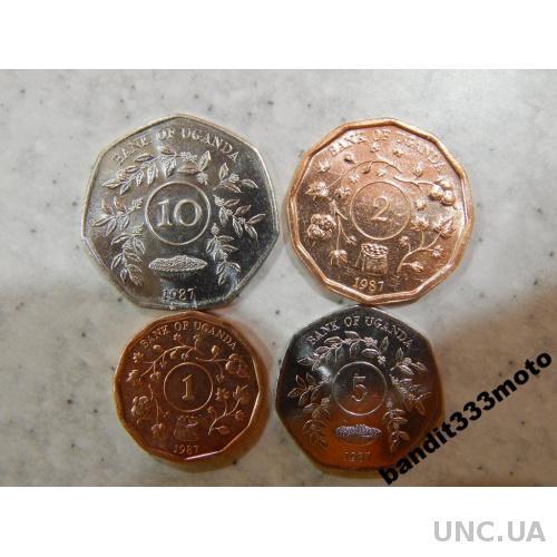 набор монет Уганда 1987 год 4 монеты Оригинал