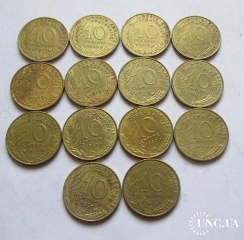 10 сантимов Франция. 14 монет