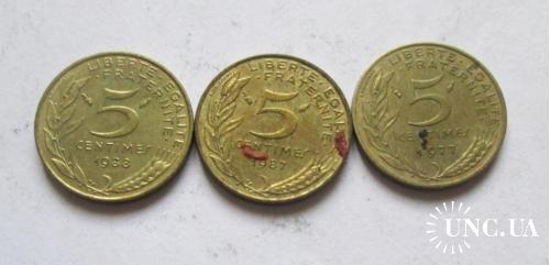 5 сантимов Франция. 3 монеты