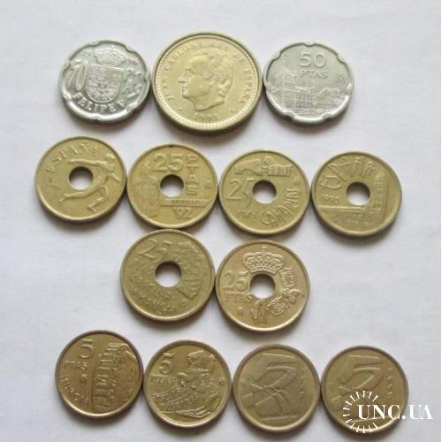 Монеты Испании 13 штук.