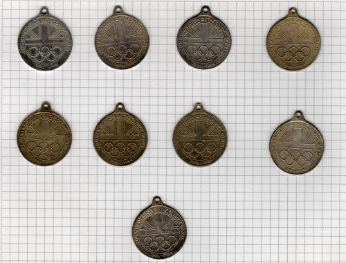 Великобритания Памятные олимпийские медали 1900 1908 1920 2924 1928 1932 1956 1964 1980 Спорт