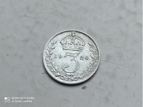 Великобритания. 3 пенса 1920 г. Георг V. Серебро 0.9250 .Оригинал. Сохран.(2)
