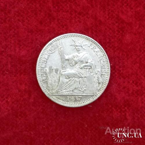 1937 ИндоКитай Французский 10 сентимов, серебро