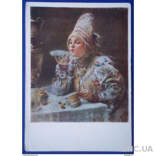 12635 К. Маковский. Русская женщина за чаем