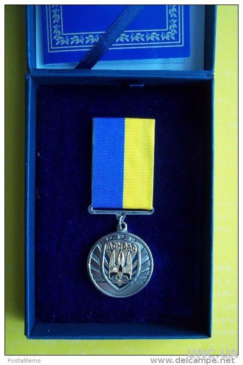Украина. Добровольческий батальон Донбасс. Памятная медаль Почета, храбрость, мужество. Коробка и документ