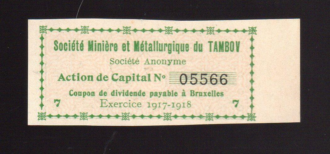 7-й куп.акции металургической компании ТАМБОВ 1917 г