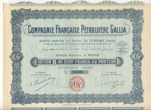 Акция CFPG Франция 1926 г +28 куп UNC