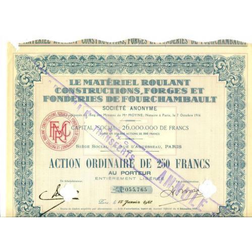 Акция MRCF Франция 1916-1921 год 30х24 см UNC