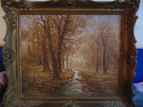 """Картина""""Осенний пейзаж"""" худ.Mesterhazy Kalman(1857 - 1898),Венгрия."""