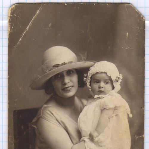 Фото. Визит. Дети. Девочка в чепчике. Девушка в шляпе. РДЧ