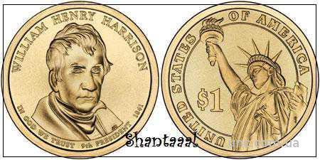 Shantaaal,1 доллар 2009, Уильям Гаррисон, 9 Президент США