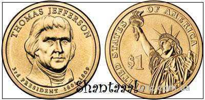 Shantaaal, 1 доллар 2007, Томас Джефферсон, 3 президент США