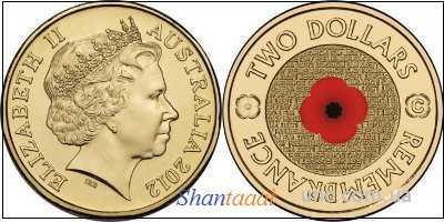 Shantal, Австралия 2 доллара 2012 год UNC