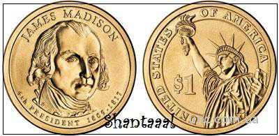 Shantaaal, 1 доллар 2007, Джеймс Мэдисон, 4 президент США