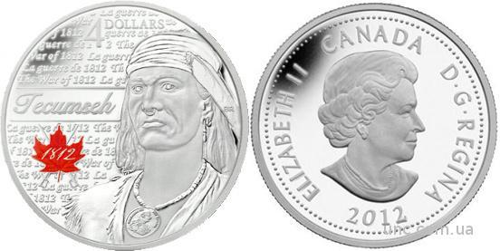 Shantaaal, Канада 25 центов 2012, Текумсе (цвет. эмаль), UNC