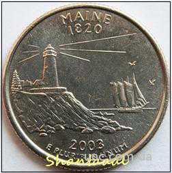 Shantal, 25 центов 2003, Штат США Мэн