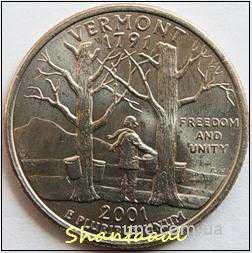 Shantal, 25 центов 2001, Штат США Вермонт