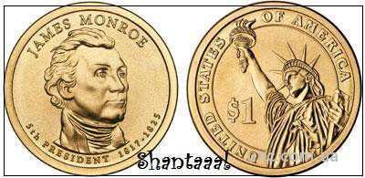 Shantaaal,USA 1 доллар 2008, Джеймс Монро, 5 Президент США