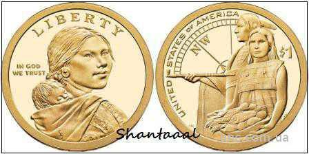 Shantal,США 1 доллар Сакагавея: Семья индейца 2014